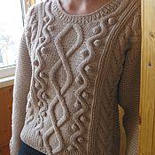 Одежда ручной работы. Ярмарка Мастеров - ручная работа Джемпер  женский вязаный  (пуловер) бежевый Шишечки. Handmade.