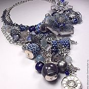 Украшения handmade. Livemaster - original item Evening in denim color. Kit. Necklaces, three brooches.. Handmade.