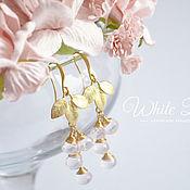Украшения handmade. Livemaster - original item Rose quartz earrings, leaves. Handmade.