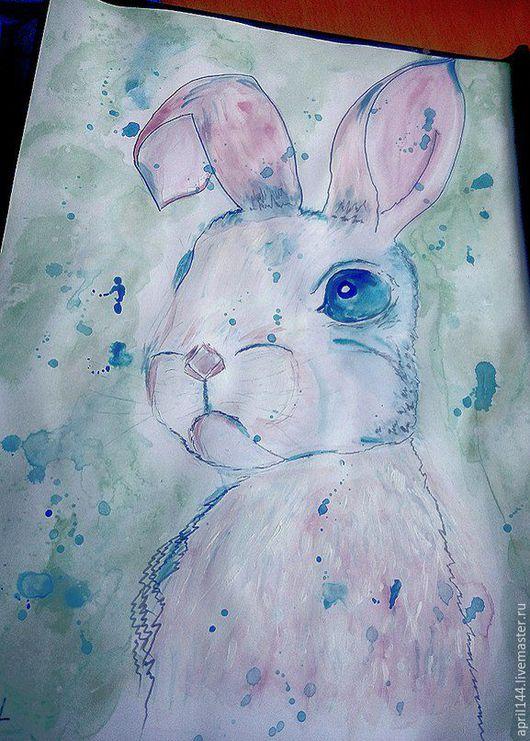 Животные ручной работы. Ярмарка Мастеров - ручная работа. Купить грустный кролик (под стеклом). Handmade. Бледно-розовый