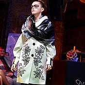 """Одежда ручной работы. Ярмарка Мастеров - ручная работа Пальто с вышивкой """"Зебровые орхидеи"""". Handmade."""