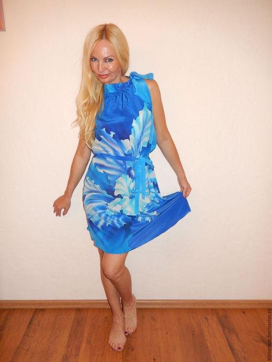 Платья ручной работы. Ярмарка Мастеров - ручная работа. Купить платье-Волна из цветов. Handmade. Синий, платье, голубой