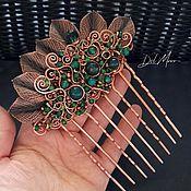 Украшения handmade. Livemaster - original item Hair comb with stones green