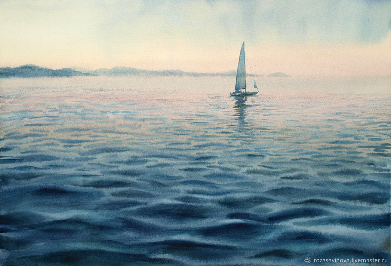 Watercolor painting Landscape with sailboat. Seascape, Pictures, Magnitogorsk,  Фото №1