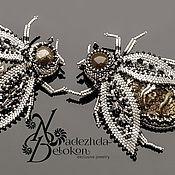 Украшения handmade. Livemaster - original item Beetles made of precious silver beads. Handmade.