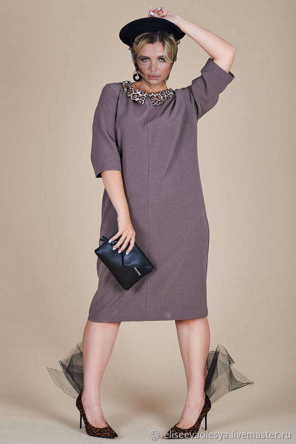 Платье с леопардовым воротничком  47836, Платья, Новосибирск, Фото №1