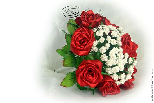 Свадебные цветы ручной работы. Ярмарка Мастеров - ручная работа. Купить Букет дублер. Handmade. Ярко-красный, невеста