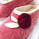 """Обувь ручной работы. Заказать Тапочки валяные женские бордовые """"Роза"""". Алла Халайджи (Ahalay). Ярмарка Мастеров. Тапочки валяные"""