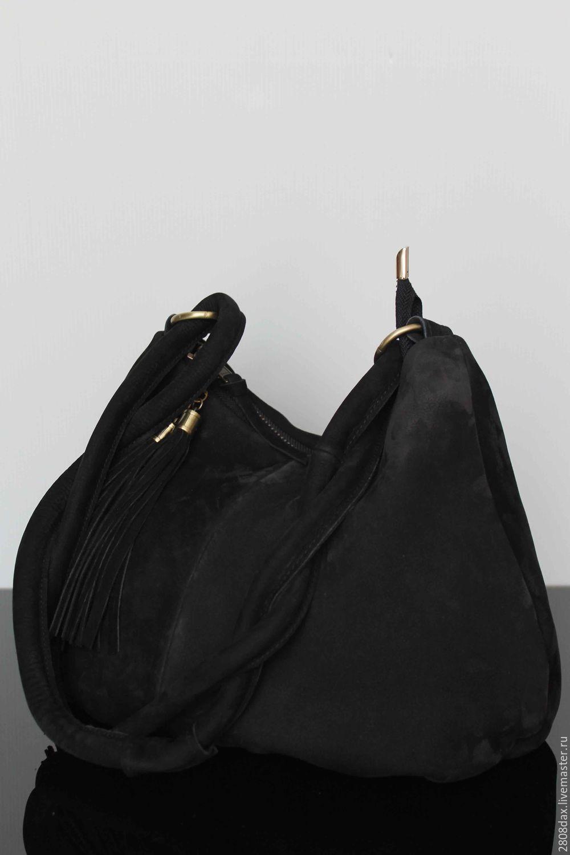 aebe8f6c72c7 Черная замшевая сумка, хобо – купить в интернет-магазине на Ярмарке ...