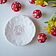 """Тарелки ручной работы. Ярмарка Мастеров - ручная работа. Купить Блюдце """"Рябина"""". Handmade. Белый, блюдце для колец, керамическая посуда"""
