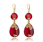 Украшения handmade. Livemaster - original item Bright red drop earring women`s accessory for a night