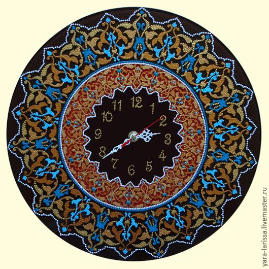 Часы настенные интерьерные `Восток` Часы настенные из стекла . Ручная работа. Часы настенные с росписью. Точечная роспись.