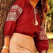 Одежда ручной работы. Ярмарка Мастеров - ручная работа Вышиванка цвета марсала с бежевой вышивкой. Handmade.