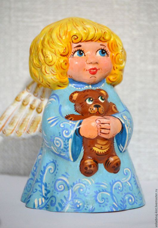 """Колокольчики ручной работы. Ярмарка Мастеров - ручная работа. Купить Колокольчик """"Ангел с мишкой"""". Handmade. Голубой, ангел, крылья ангела"""