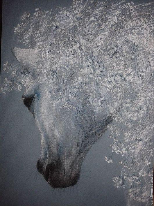 Животные ручной работы. Ярмарка Мастеров - ручная работа. Купить Нежность. Handmade. Лошадь, картина, пастель, голубой, нежность, подарок