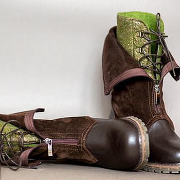 Обувь ручной работы. Ярмарка Мастеров - ручная работа Ботинки ручной работы женские Коричневые с зеленым. Handmade.
