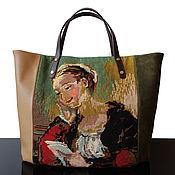 Классическая сумка ручной работы. Ярмарка Мастеров - ручная работа Vintage Canvas Кожаная сумка с французской винтажной вышивкой. Handmade.