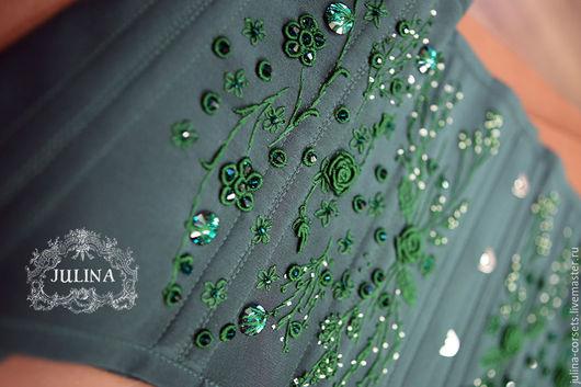 """Корсеты ручной работы. Ярмарка Мастеров - ручная работа. Купить Корсет """"Ирландия"""" малахит и изумруд.. Handmade. Тёмно-зелёный, изумруд"""