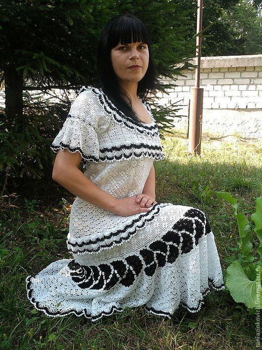 """Платья ручной работы. Ярмарка Мастеров - ручная работа. Купить Платье """"Очарование"""". Handmade. Чёрно-белый, ажурное платье"""