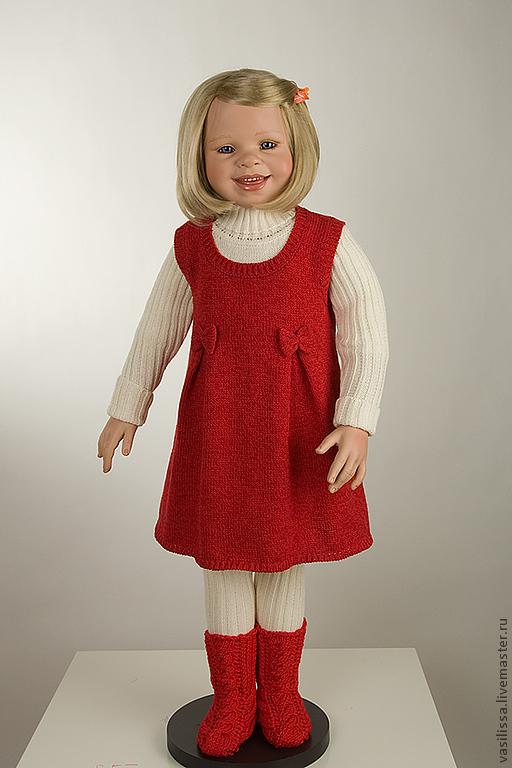 Одежда для девочек, ручной работы. Ярмарка Мастеров - ручная работа. Купить Красный Сарафан - вязаный комплект для девочки.. Handmade.