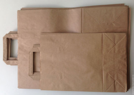 Упаковка ручной работы. Ярмарка Мастеров - ручная работа. Купить Крафт пакет с плоскими ручками. Handmade. Бежевый, пакет подарочный