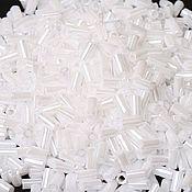 Материалы для творчества handmade. Livemaster - original item 10g 3 mm Bugle 121 Toho Japanese beads white opaque glossy. Handmade.