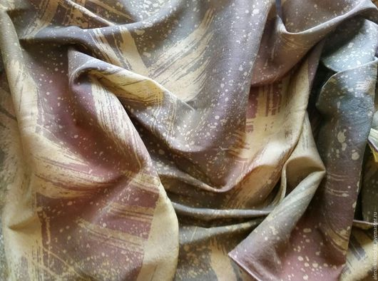 Шарфы и шарфики ручной работы. Ярмарка Мастеров - ручная работа. Купить Шарф коричнево-зеленый шелк шерсть батик. Handmade.