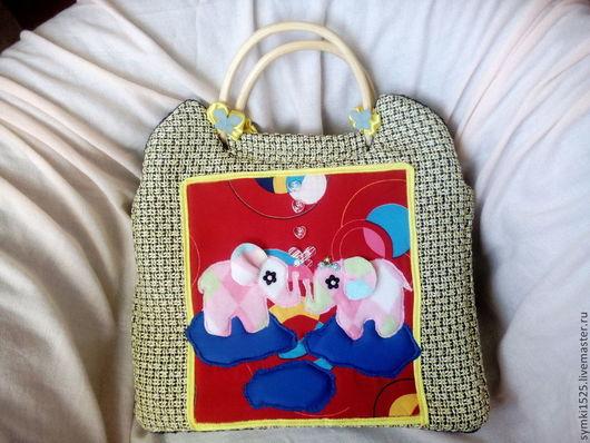 Женские сумки ручной работы. Ярмарка Мастеров - ручная работа. Купить сумка со слониками. Handmade. Желтый, атласная лента