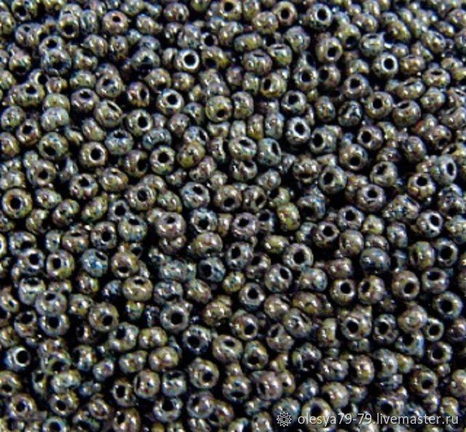 10 grams of 10/0 Czech seed beads, Preciosa 29980 dark grey travertine, Beads, Chelyabinsk,  Фото №1
