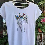 Одежда handmade. Livemaster - original item T-shirt. Beautiful girl. embroidery with ribbons. Handmade.