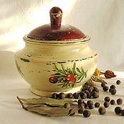 """Для дома и интерьера ручной работы. Ярмарка Мастеров - ручная работа Горшочек """"Ягоды"""" для хранения специй (кухня, дерево). Handmade."""