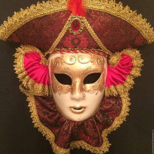"""Интерьерные  маски ручной работы. Ярмарка Мастеров - ручная работа. Купить Венецианская маска """"Виконт"""". Handmade. Бордовый, венецианская маска"""