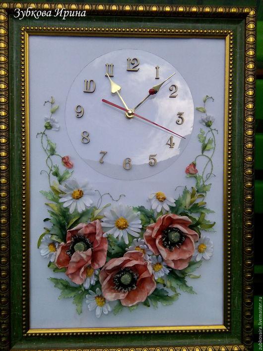 Часы для дома ручной работы. Ярмарка Мастеров - ручная работа. Купить часы маки и ромашки. Handmade. Ярко-красный