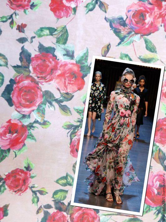 Шитье ручной работы. Ярмарка Мастеров - ручная работа. Купить 15% скидка Органза розы D&G 2 цвета шелк Италия. Handmade.
