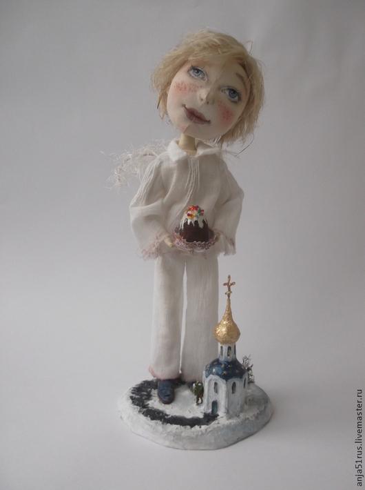 Куклы тыквоголовки ручной работы. Ярмарка Мастеров - ручная работа. Купить Пасхальный Ангел продан. Handmade. Белый, медная проволока