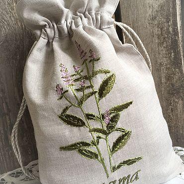 Для дома и интерьера ручной работы. Ярмарка Мастеров - ручная работа Мешочек для трав « Мята». Handmade.