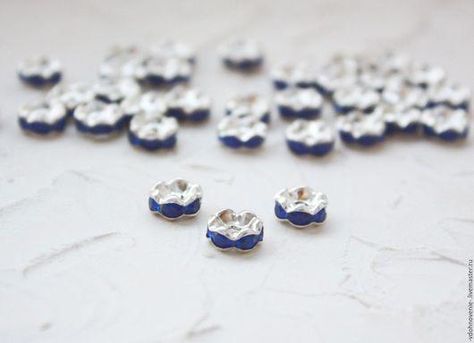Открытки и скрапбукинг ручной работы. Ярмарка Мастеров - ручная работа. Купить Рондель со стразами 8 мм синий. Handmade.