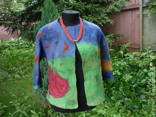 """Пиджаки, жакеты ручной работы. Ярмарка Мастеров - ручная работа. Купить Жакет валяный """"Зонтик улетел"""". Handmade. Тёмно-синий"""