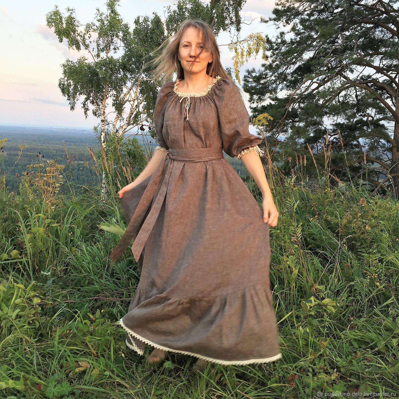 Loose linen dress in peasant style brown melange, Dresses, Kemerovo,  Фото №1