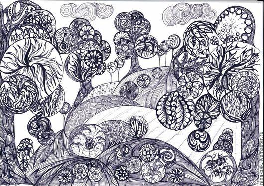 Пейзаж ручной работы. Ярмарка Мастеров - ручная работа. Купить Шары. Handmade. Комбинированный, зентагл, графика, подарок для женщины