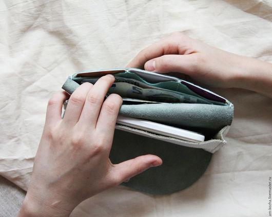 Кошельки и визитницы ручной работы. Ярмарка Мастеров - ручная работа. Купить Женский кожаный кошелёк портмоне. Handmade. Комбинированный