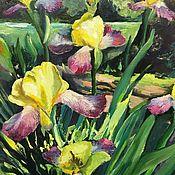 Картины и панно handmade. Livemaster - original item Oil painting with irises