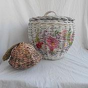 Для дома и интерьера handmade. Livemaster - original item A WICKER BASKET with a bouquet of flowers. Handmade.