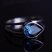 Украшения handmade. Livemaster - original item Silver ring on a double splint with precious Topaz London. Handmade.