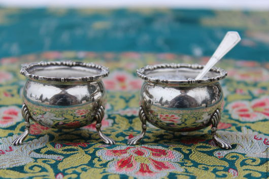 Винтажная посуда. Ярмарка Мастеров - ручная работа. Купить -10%Серебро 925 пробыПара старинных солонок ,Англия,1904г. Handmade. Серебро