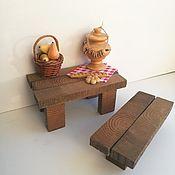 Мебель для кукол ручной работы. Ярмарка Мастеров - ручная работа Деревенский стол с лавкой. Handmade.