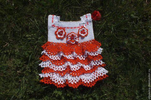 Одежда для девочек, ручной работы. Ярмарка Мастеров - ручная работа. Купить платье для девочки.. Handmade. Коралловый, платье вязаное