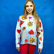 """Одежда ручной работы. Ярмарка Мастеров - ручная работа Свитер для девочки  """"Тюльпаномания"""". Handmade."""