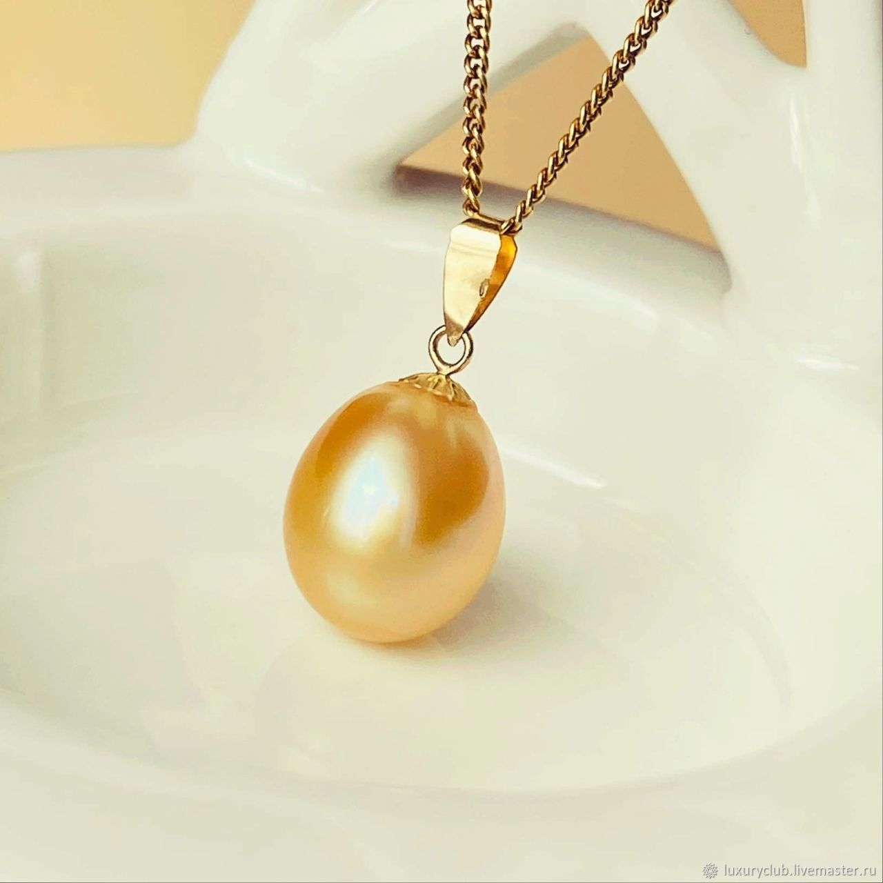 Gold pendant with South Sea pearls buy, Pendant, Tolyatti,  Фото №1