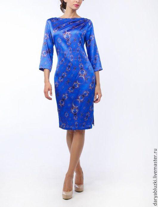 """Платья ручной работы. Ярмарка Мастеров - ручная работа. Купить Платье шелковое """"Грация"""". Handmade. Платье, купить платье, синий"""